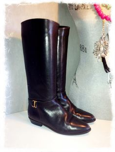 Vintage 80s Etienne Aigner Black Equestrian Boots