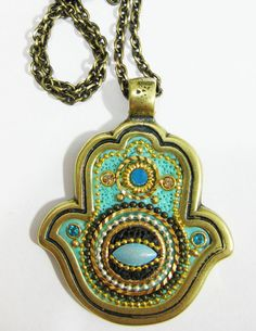 Necklace Hamsa Swrovski crystal Silver Evil Eye by IrinaSmilansky, $42.99