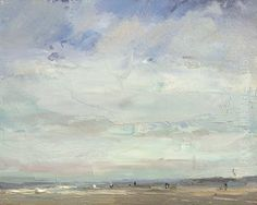 """New Blog Post: http://rosepleinair.com/seascape-morning-breeze/ Seascape """"Morning Breeze Wide Sky"""" Complicated pattern of clouds here and you might sense the morning light. Most of the times I know how a morning sky will change. When there are clouds, usually they disappear around noon. And the yellowish light is replaced by a more hardened... View More at: http://rosepleinair.com #Morninglight, #Painting, #PleinairPainting, #PleinairPainting, #Roosschuring, #Seas"""