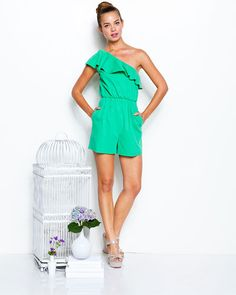 17ad2581a30 alice + olivia by Stacey Bendet  Stella  Green One-Shoulder Ruffle Romper  Ruffle