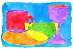 Watercolor Still Life. Draw simple outlines of a still life overlapping each other, trace with crayons, and paint away.