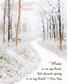 Victor Hugo on Winter:  An Altered Fine Art Watercolor Digital Fine Art Photographic Print