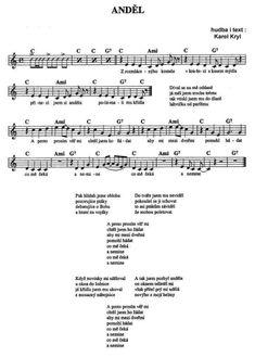 Karel Kryl - Anděl [noty na Supermusic.sk] Ukulele Songs, Ukulele Chords, Piano, Kalimba, Musicals, Sheet Music, Humor, My Love, Bible