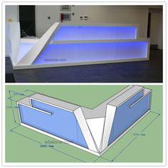Led Lighting Reception L Shape Counter Custom Design  RE030