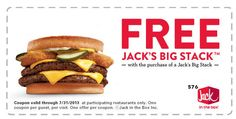 JACK IN THE BOX $$ Reminder: Coupon for BOGO FREE Big Stack – Expires TODAY (7/31)!