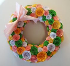 Spring Easter Wreath in pink yellow and green by SweetPeasFlorals, $45.00