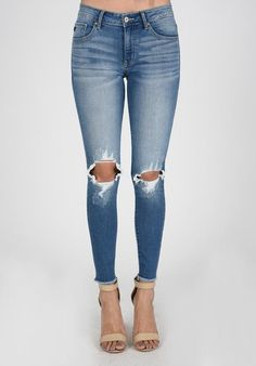 Distressed Knee Kan Can Jeans (Light Wash)