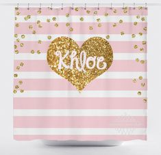 ***TURNAROUND TIME*** Please see my current turnaround time on my home page https://www.etsy.com/shop/PAMPERYOURSTYLE - - - - - - - - - - - - - - - - - - - - - - - - - - - - Pink Stripe Shower Curtain with Printed Gold Glitter Heart - Adorable! Please note!!!!! The Gold Glitter