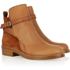 Acne Clover brushed-leather and suede boots (960 BRL) ❤ liked on Polyvore featuring shoes, boots, ankle booties, booties, zapatos, flats, buckle booties, short heel boots, suede bootie and ankle strap flats