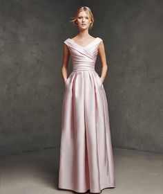 Plus Size 2016 Blush Pink V-Neckline Floor Length Mother Of The Bride Dress Satin Evening Gowns
