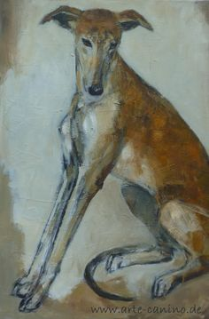 Spanish Greyhound (Galgo) Acrylic on canvas, 90 x 60 cm by Claudia Gaede