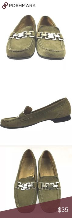 Cole Haan slip on loafers Cole Haan Womens Shoes Size 6.5B.  Very nice green/olive with interlocking decorative buckles on top of the slip on loafers.  No stains or rips.  