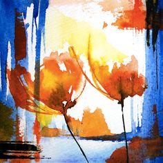 Petit instant N°152 (Peinture),  10x10 cm par Véronique Piaser-Moyen Aquarelle originale sur papier 300G