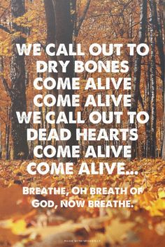 We call out to dry bones Come alive Come alive We call out to dead hearts Come alive Come alive... - Breathe, Oh breath of God, now breathe. | Barry made this with Spoken.ly