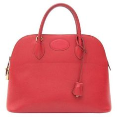 Preowned Hermès Bolide Top Handle Bag Red Ghw ($4,399) ❤ liked on Polyvore featuring bags, handbags, red, leather purse, top handle bag, red handbags, hermes handbags and circle purse