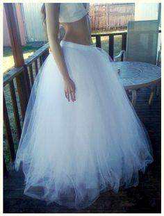 Super Full, Full Length White Sparkle Tulle Skirt - 30-40 yards