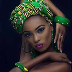47 Trendy Ideas For Fashion African Women Dresses Head Wraps African Beauty, African Fashion, Ghanaian Fashion, Men's Fashion, African Makeup, Trendy Fashion, Green Fashion, King Fashion, African Outfits