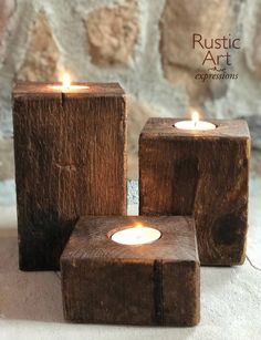 Simple and rustic. Small Candle Holders, Rustic Candle Holders, Rustic Candles, Small Candles, Candle Holder Set, Tea Light Candles, Tea Light Holder, Tea Lights, Farmhouse Table Centerpieces