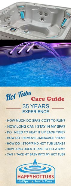 Hot Tubs Tips and FAQs - 'How do I look after my Hot Tub?' 'How much will it cost to run my hot tub?' 'How long can I stay in?'  'Safe for infants?' etc.. Truly great, reliable, genuine hot tub advice from the experts who have been online and selling great hot tubs for OVER 35 YEARS  :)