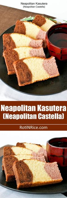 tri-colored Neapolitan Kasutera (Neapolitan Castella) with chocolate, honey, and strawberry flavored cake