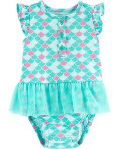 Carter's - Baby Girls Short Sleeve A-Line Dress Baby Basics, Baby Girl Dresses, Girl Outfits, Baby Mermaid Outfit, Mermaid Bodysuit, Carters Baby Girl, Baby Girls, Printed Skirts, The Little Mermaid