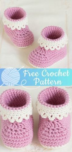 Baby Shoes Pink Lady Baby Booties - All About Crochet Booties Crochet, Crochet Baby Boots, Baby Girl Crochet, Crochet Baby Clothes, Crochet Shoes, Slippers Crochet, Crochet Baby Sandals, Crochet Beanie, Crochet Braids