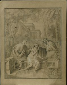"Federico Faruffini - ""Susanna and the Elders"" Italy, 19th Century"