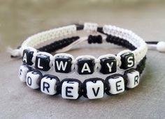 Couples Bracelet 046:Wedding Gift, Boyfriend Girlfriend Jewelry, ALWAYS FOREVER Bracelet, Anniversary Gift