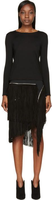 Jay Ahr Black Zip Suede Fringe Sweater Dress