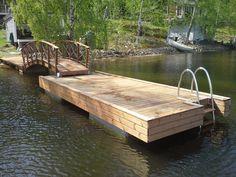 Betoniponttonilaituri 6*2,4 + kävelysilta 5*1,2 | Savorak Oy Garden Bridge, Outdoor Structures, English, English Language