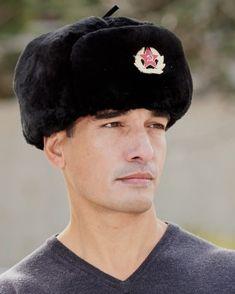 ff408093254c83 Black Mouton Sheepskin Russian Ushanka Hat with Badge Russian Hat, Badge,  Fur, Hats