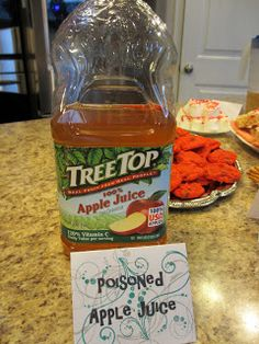 """Once Upon a Time/Fairy Tale party ideas: """"Poisoned Apple Juice"""". See blog for other fairy tale-inspired party ideas!"""