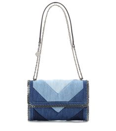 Stella McCartney Falabella Denim Shoulder Bag For Spring-Summer 2017 White Shoulder Bags, Denim Shoulder Bags, Shoulder Handbags, Denim Handbags, Blue Handbags, Jean Purses, Purses And Bags, Stella Mccartney Handbags, Stella Mccartney Bag Falabella