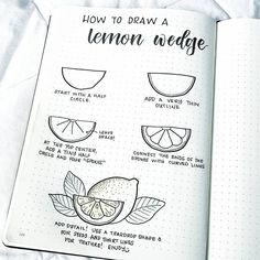 Bullet journal drawing idea, how to draw a lemon wedge, lemon wedge drawing. | @bonjournal