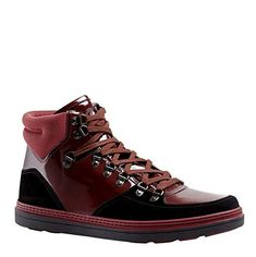 2337a16a437 Gucci Contrast Combo Dark Red Patent Leather Suede High t... Gucci  Contrast. High Top SneakersDark ...