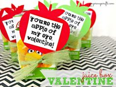 {You're the Apple of my Eye} Valentine's Day Juice Box idea for kids