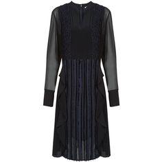 3.1 Phillip Lim Black Fil Coupé Bib Dress ($840) ❤ liked on Polyvore featuring dresses, zip dress, flounce dress, v neck dress, long sleeve pleated dress and zipper dress