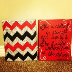 """glitter chevron canvas. Would LOOOOVE for the quote to say """"strive for honor evermore"""""""