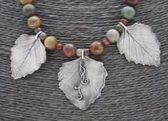 Fine Silver 3 Ash Leaf with Red Creek Jasper beads necklace