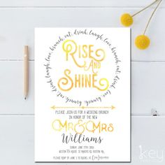 Post Wedding Brunch Invitation Printable Rise And Shine Bridal Newlywed