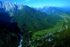 An aerial view of the Gozd Martuljek village in the Slovenian Alps