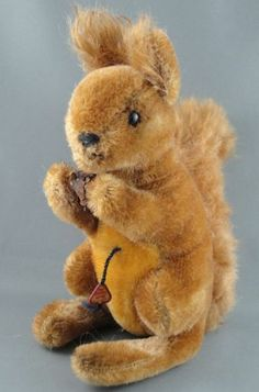 """Clemens Red Squirrel Mohair Plush 18 cm 7"""" Swing Tag 1960s Glass Eyes W Germany"""