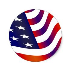 American Flag Classic Round Sticker #USA #America #American #Flag #Patriotic #Holiday #Independence #Sticker