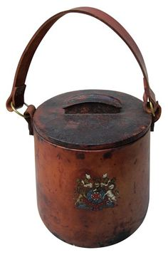 Late 19th Century British Leather Ice Bucket #downtonabbey