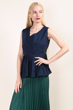 Button Detailed Pleated Hem Top (Navy) SGD$ 30.00