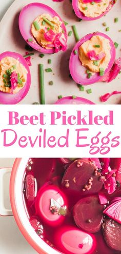 An easy delicious recipe for gorgeous beet pickled deviled eggs. Traditional pickled eggs turned into mouthwatering deviled eggs. The perfect healthy snack or delicious appetizer for a crowd.  via @abrapappa