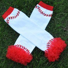 Baseball Ruffle Chiffon Leg Warmers sparkleinpink.com