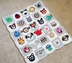 The Zookeeper's Blanket is an adorable baby blanket featuring an entire zoo of 30 different animals! This project is perfect for using up scrap yarn, and since each square is different, you'll never be bored watching each sweet little animal take shape. Crochet Motifs, Crochet Squares, Crochet Blanket Patterns, Baby Blanket Crochet, Knitting Patterns, Crochet Quilt, Granny Squares, Crochet Shawl, Manta Crochet