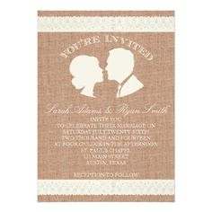 Shop Burlap & Lace Print Wedding Invitation created by antiquechandelier. Burlap Wedding Invitations, Vintage Wedding Invitations, Wedding Save The Dates, Save The Date Cards, Red Silver Wedding, Country Barn Weddings, Creative Wedding Ideas, Burlap Lace, Lace Print