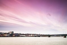 Wispy Clouds over Wexford Town. Winter evening shades of magenta over Wexford Town